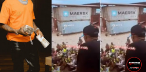 Wizkid Causes Stir At Lagos Beach As He Opens The Floodgate Of Money For His Fans At A Lagos Beach