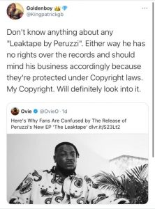 Goldenboy CEO King Patrick Denies Involvement in Peruzzi's leaked EP