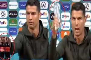 Cristiano Ronaldo was far from pleased to see two bottles of Coca Cola in front of him as he sat for his press conference on Monday.  The Portugal and Juventus star is known for his extreme professionalism, and he swiftly moved the two bottles of the tactically-placed soft drink away from himself and out of view.